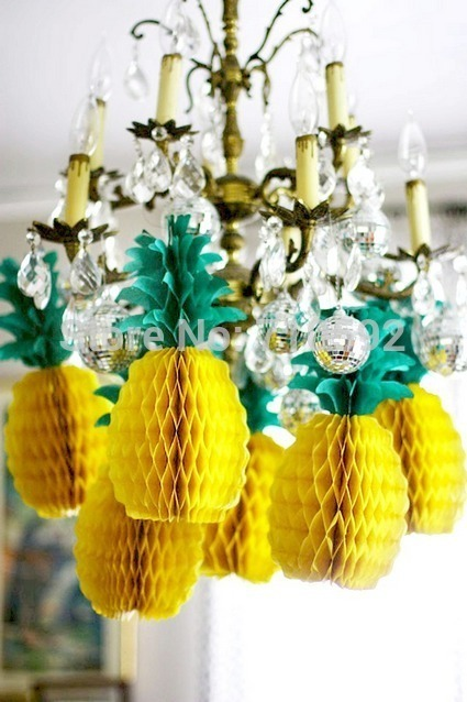 5pcs Pineapple Shape Honeycomb Decoration Fruits Garland Table Centerpiece Honeycomb Paper SUMMER BEACH POOL LUAU PARTY