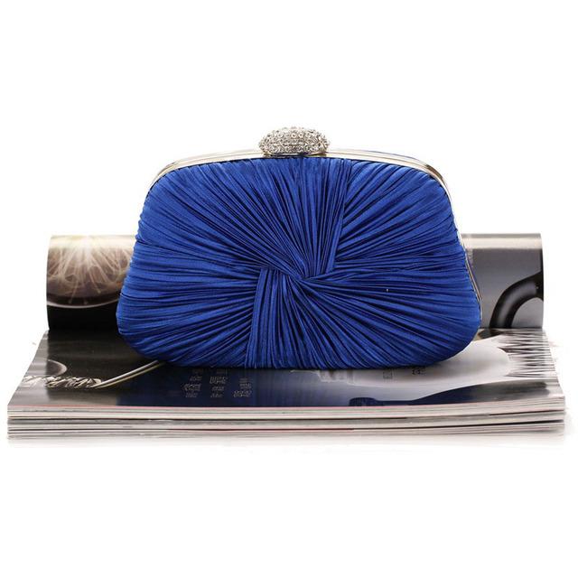 Women Pleated Evening Hand Bag Blue Crystal Dressed Clutch Bags Wedding Party Chain Purse Small Handbag Mini Day Clutches XA834H