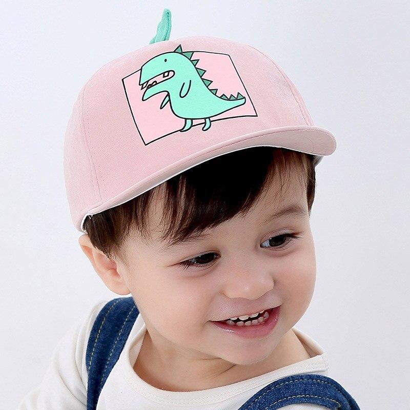 Hats & Caps Spring Summer Children Baseball Cap Boys Girls Cartoon Dinosaur Snapback Hip Hop Hat Adjustable Kids Sun Cap