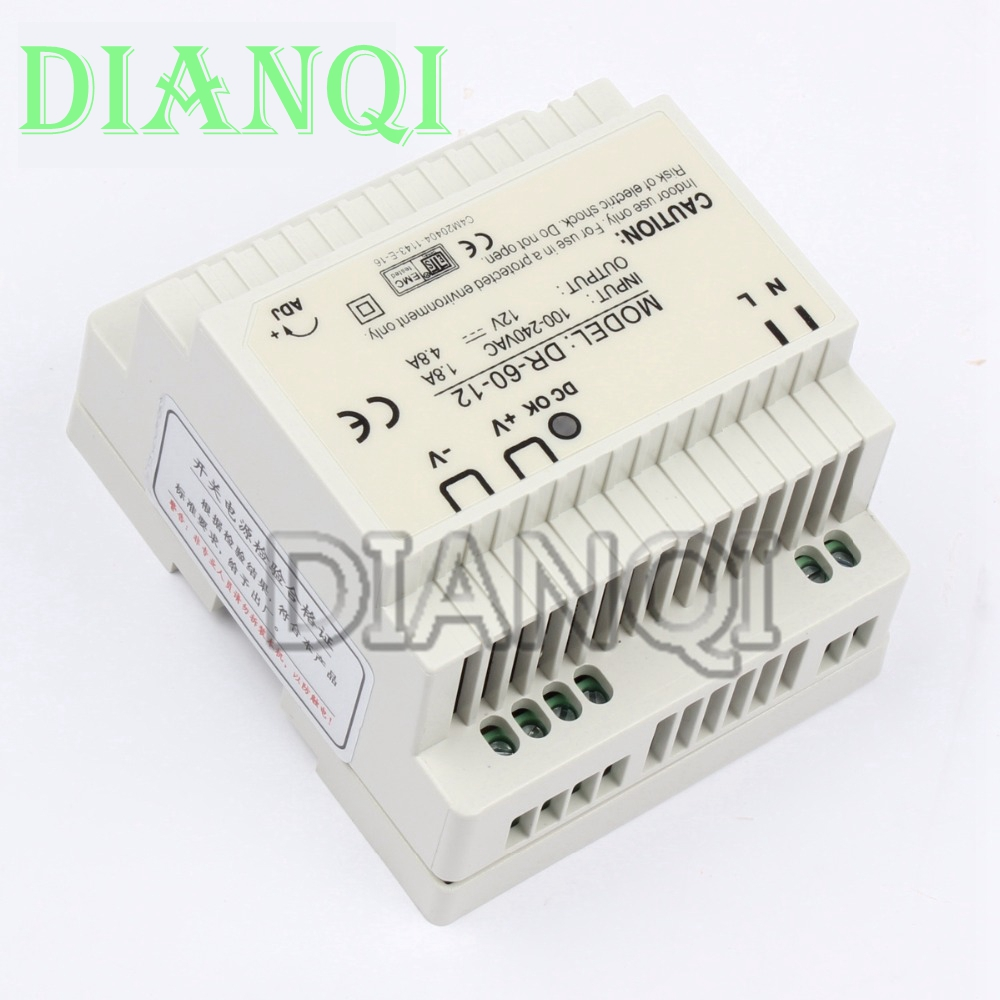 DIANQI Din rail power supply 60w 12V power suply 12v 60w ac dc converter dr-60-12 good quality