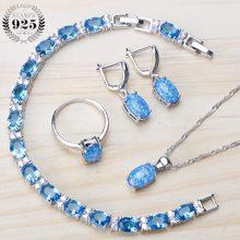 f1667590c1c3 Joyería nupcial de Plata de Ley 925 de ópalo azul fuego establece pendientes  para mujer boda zirconia pulsera collar anillo conj.