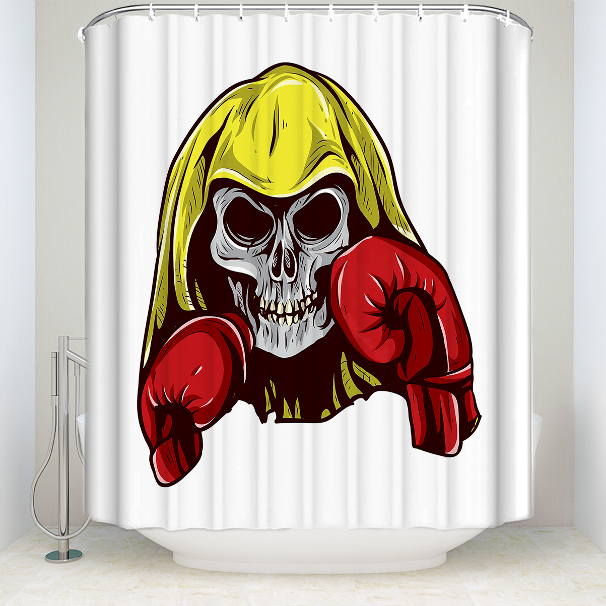Us 15 28 36 Off Charmhome Boxing Decor Shower Curtain Skull With Boxing Leather Gloves Polyester Fabric Shower Curtain For Bathroom Yellow Red In