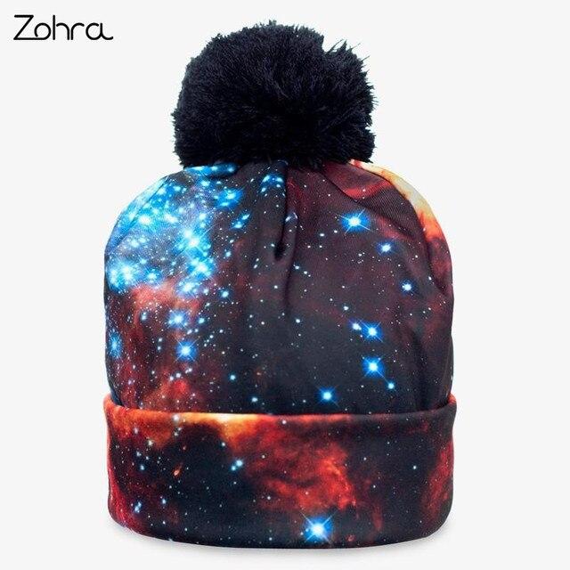 db64fb967e8f3 Zohra Fashion Women Men Unisex Winter Beanie Hat Bobble Pompon Full Print  Hats Warm Skullies Knitting Baggy Cozy Caps