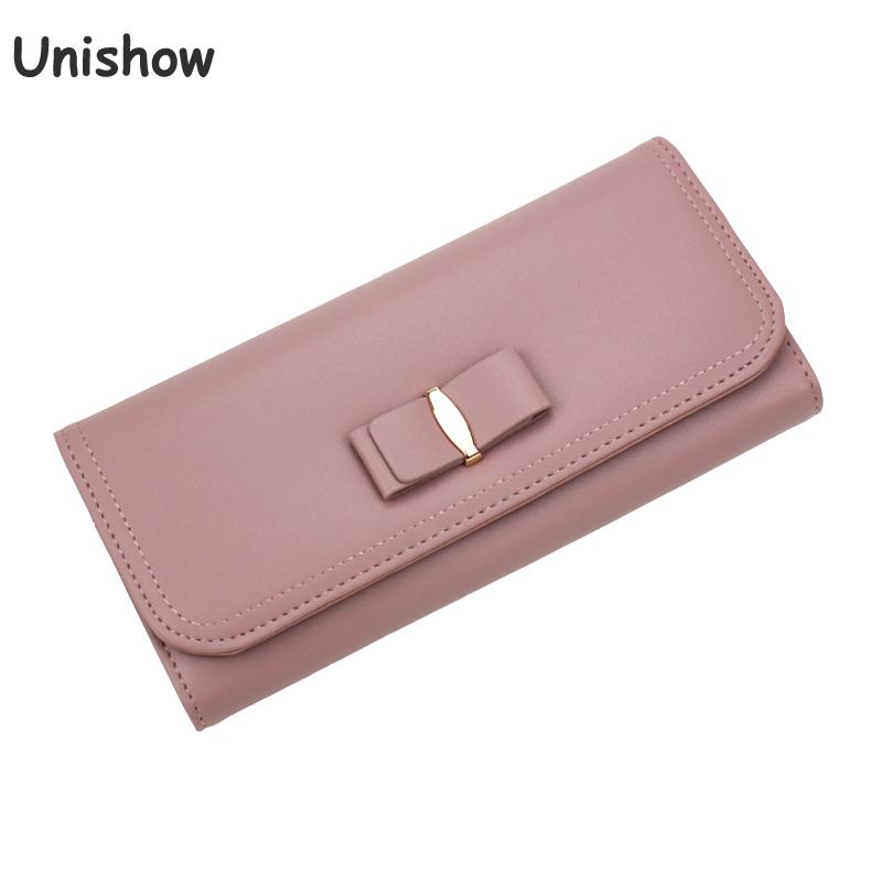 Unishow Bow Wallet For Women Casual Elegant Long Purse Female Brand Ladies Wallet Clutch Large Capacity Girl Purse Card Holders кошелек new brand purse ts49fe elegant wallet