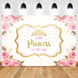 Image 1 - Mehofoto Baby Shower Photo Backdrop for Photography Little Princess Newborn Flower Background Gold Crown Birthday Party Booth