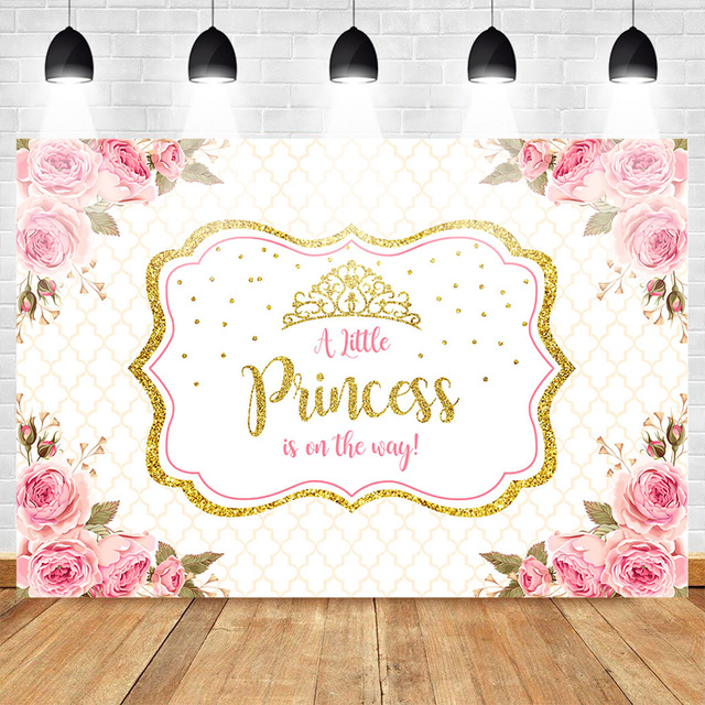 Mehofoto Baby Shower Photo Backdrop for Photography Little Princess Newborn Flower Background Gold Crown Birthday Party Booth