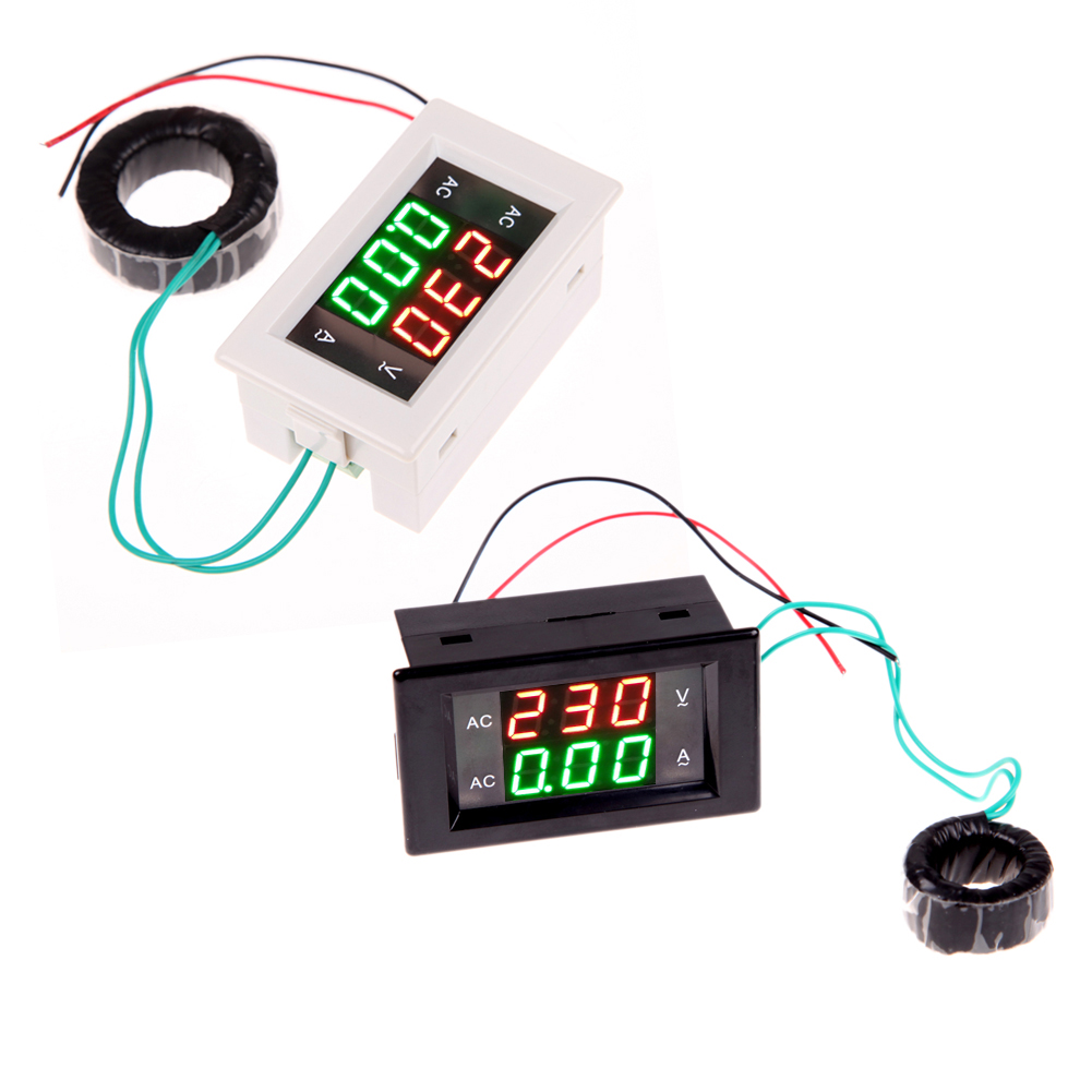 AC Digital Ammeter Voltmeter LCD Panel Amp Volt Meter 100A 300V 110V 220V High Quality 6l2 v panel ac voltmeter black white 0 450v