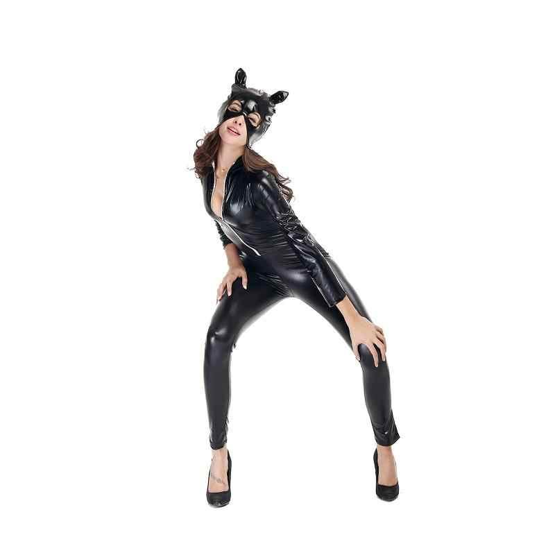 Adogirl черный Искусственная кожа полной длины Для женщин Bodycon Корректирующие боди для женщин Эротичные костюмы для holloween Женщина-кошка костюм Костюмы