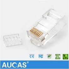 AUCAS UTP stecker netzwerk kabel stecker 8P8C Netzwerk CAT6 Modulare Stecker Anschluss 2 stücke anzug Freies Verschiffen Ethernet Kabel Kopf stecker