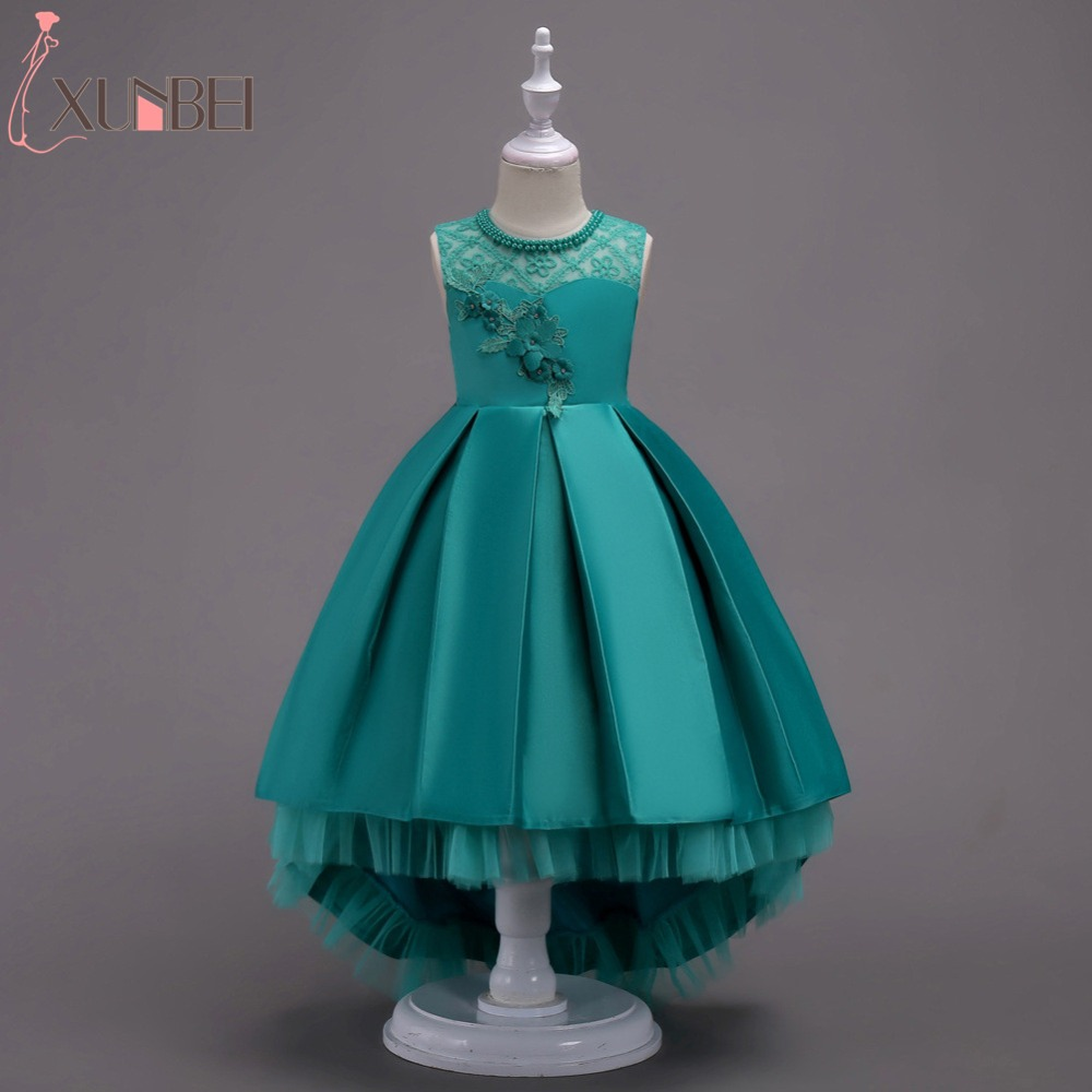 Pretty High Low Satin   Flower     Girl     Dresses   6 Colors 2019 Beaded Appliqued   Dresses   For   Girls   Kids Prom   Dresses   vestido daminha
