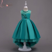Pretty High Low Satin Flower Girl Dresses 6 Colors 2018 Beaded Appliqued Dresses For Girls Kids