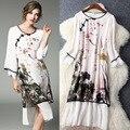 Китайской Живописи Тушью Печатных Дизайн Cheongsam Dress Женщины Ретро Белый Натуральный Шелк Элегантный O-образным Вырезом До Колен Dress