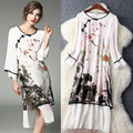 Chinese Ink Painting Printed Cheongsam Design Dress Women Retro White Real Silk Elegant O-neck Knee-length Dress