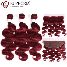 Body Wave Lace Frontal With Human Hair Bundle Deal EUPHORIA 99J/Burgundy Red Color Brazilian 100% Remy Hair Bundles With Closure(China)