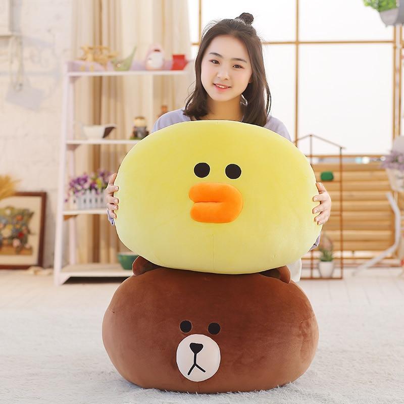 55x45 cm Large Soft Adorable Korean Line Town Dino Brown Bear Plush Toy Bed Pillow Stuffed Cartoon Sofa Cushion For Fans
