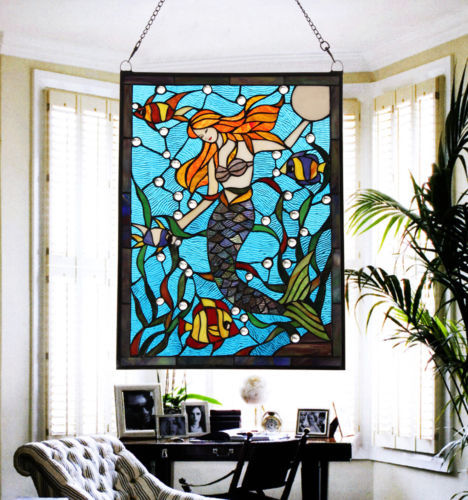 Vintage Tiffany Style Stained Art Glass Mermaid Window