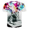 Venta caliente de La Nueva Manera Del Verano de Los Hombres 3D Impreso Camisetas de La pensador Impresión Abstracta de Manga Corta T Shirt Tamaño Tops Plus MC015-A
