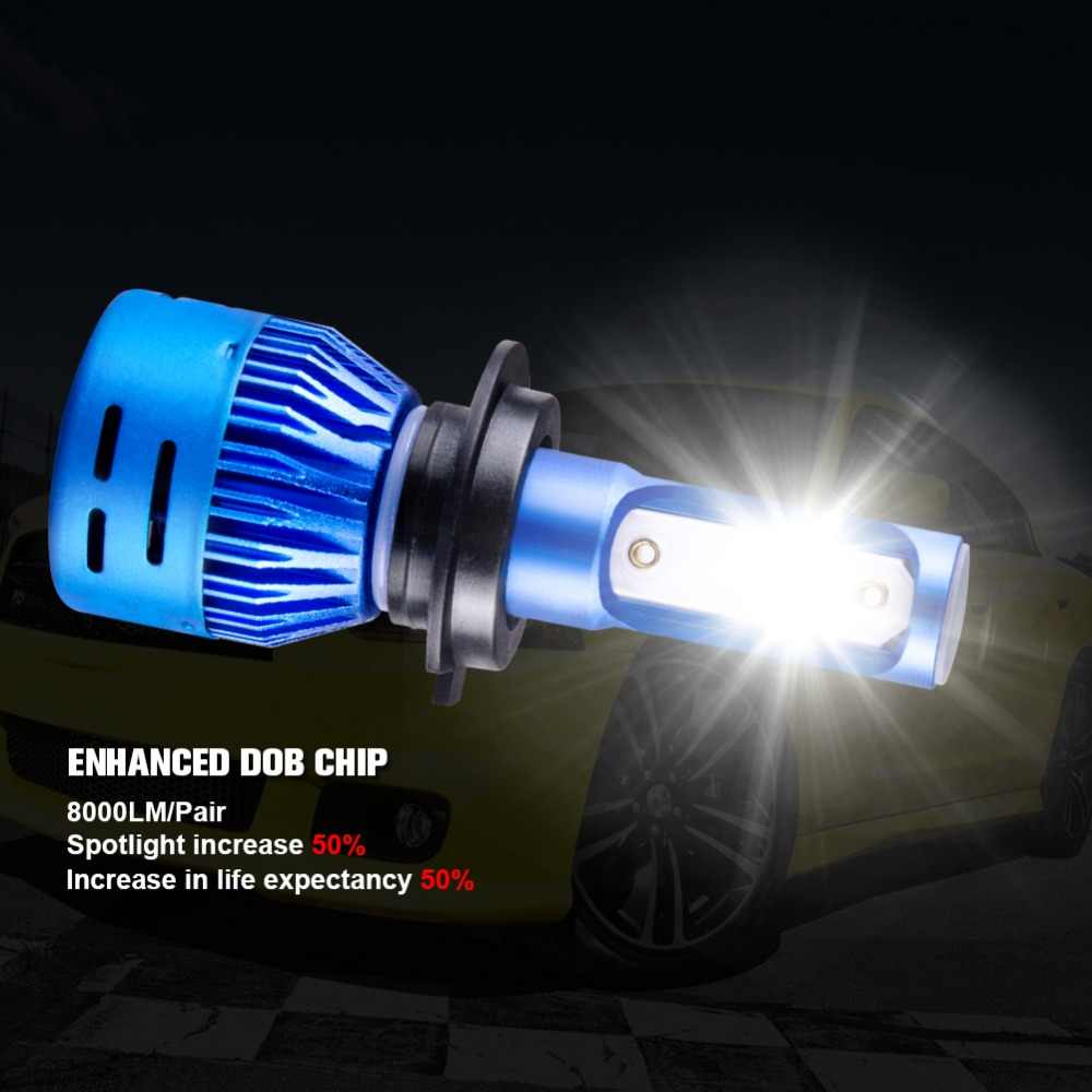 AcooSun Led H7 H4 COB/DOB chip LED Car Headlight 12V 8000LM 72W  Headlamp H1 H11 9005 Auto lamp HB3 9006 HB4 6500K Fog bulbs