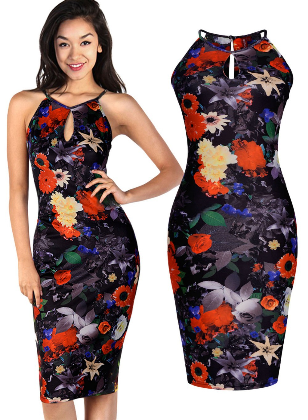 Free shipping Women\'s Hawaiian Floral Print Summer Holiday Stretch ...