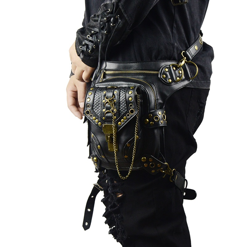 Retro SteamPunk Leather Waist Bag Serpentine Crossbody Bag Rock Men Women Gothic Black Fanny Packs Fashion Motorcycle Leg Bags