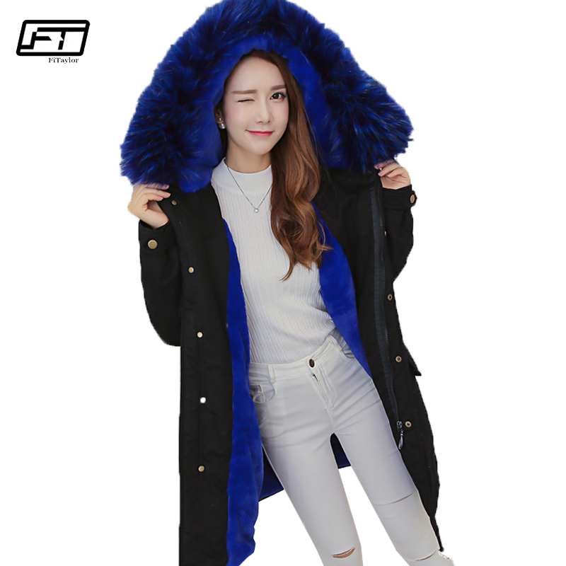 Fitaylor 2017 New Winter Fur Collar Hooded Parka Mujer Warm Jacket Big Size Thick Down Cotton Fashion Loose Medium Long Coat fitaylor 2017 winter loose cotton padded coat women thick fur collar hooded parkas mujer warm jacket coat medium long overcoat