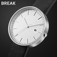 Break Top Luxury Men Women Simple Fashion Quartz Wristwatch Steel Case Genuine Leather Galendar Waterproof For