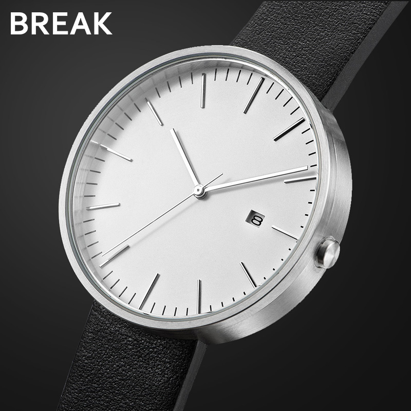 BREAK Minimalism Top Lyx Märke Svart Läder Rem Fashion Mode Causal Dress Business Quartz Armbandsur Presentklocka för Män Kvinnor