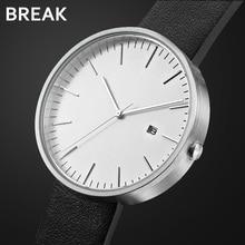BREAK Minimalism Top Luxury Brand Black Leather Strap Fashion Causal Dress Business Quartz Wristwatches Gift Watch