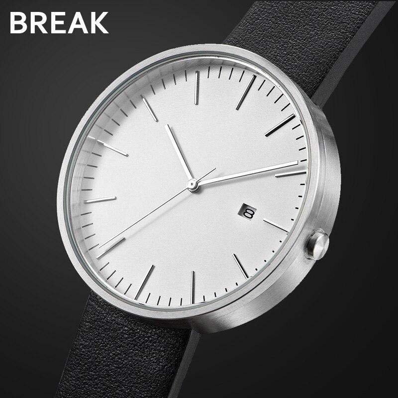 BREAK minimaliste Top marque de luxe bracelet en cuir noir mode casual Business montre-bracelet Quartz cadeau robe montres pour hommes femmes
