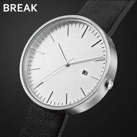 Break Top Luxury Men Women Simple Fashion Quartz Wristwatch Steel Case Genuine Leather Galendar Waterproof For