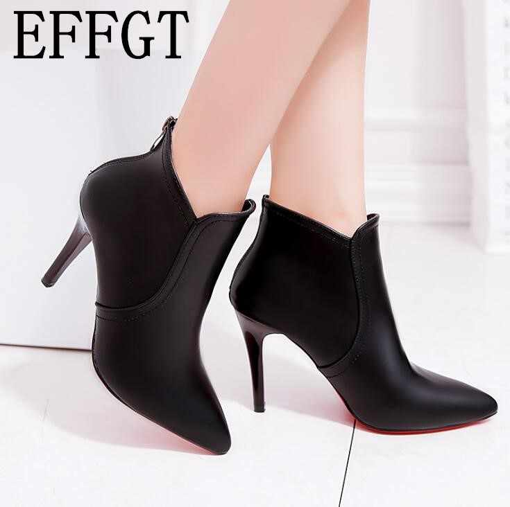 Detail Feedback Questions about EFFGT High Heels Martin Boots 2018 Spring  Autumn Fashion Pointed Toe Leather Zipper Style Sexy Ankle boots Women Boots  H859 ... a0474a1c7606