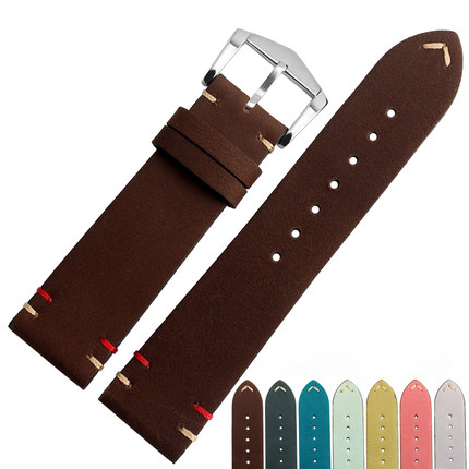 20 22mm Man Lady Cowhide Suede Leather Brown Green Yellow Pink Yellow Grey VINTAGE Watch Band Strap Belt Silver Brushed Buckle