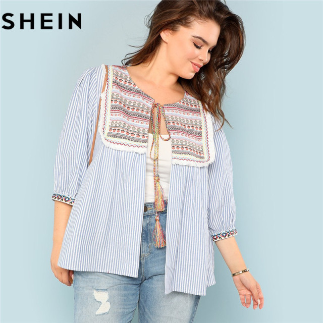 5dacf23b93 SHEIN Striped Geometric Pattern Tribal Embroidered Yoke Tassel Tie Women  Plus Size Thin Coat