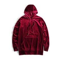 2018 Streetwear Mens Solid Velvet Hoodie Kanye West O neck Dropped Shoulder Long Sleeve Velour Hoodies Hip Hop Youth Pop M XL
