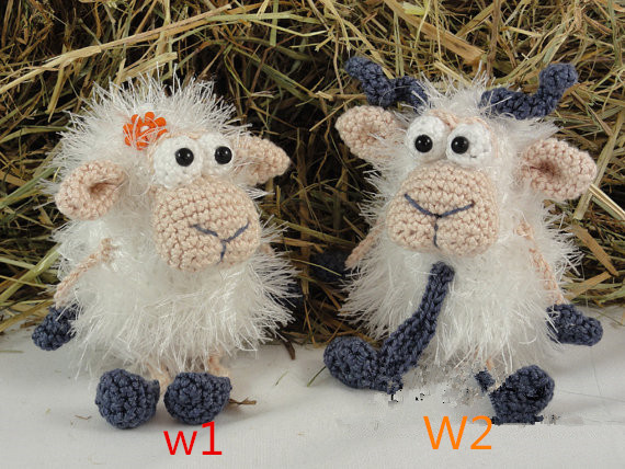 Crochet  Handmade Married Couple Sheep Baby Toy And Doll Rattle