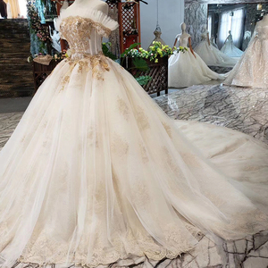 Image 3 - HTL323 Special sexy Wedding Dress with train off shoulder boat neck bridal dress gown free shipping mariage champetre