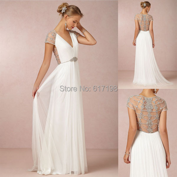 Custom made 2014 new arrival chiffon crystal beaded beach for Beaded low back wedding dress