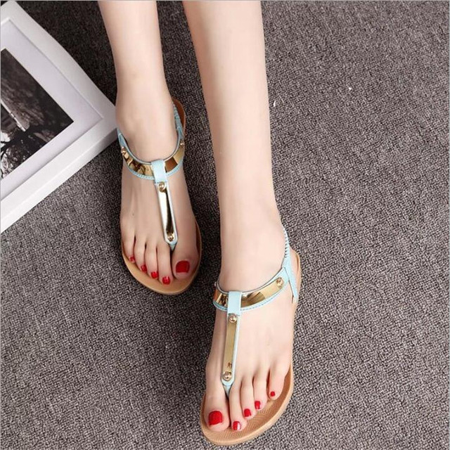 POADISFOO 2017 New Summer Metal three color choose Bohemian Simpal style sandals toe Roman casual shoes For Women .HYKL-CH8803
