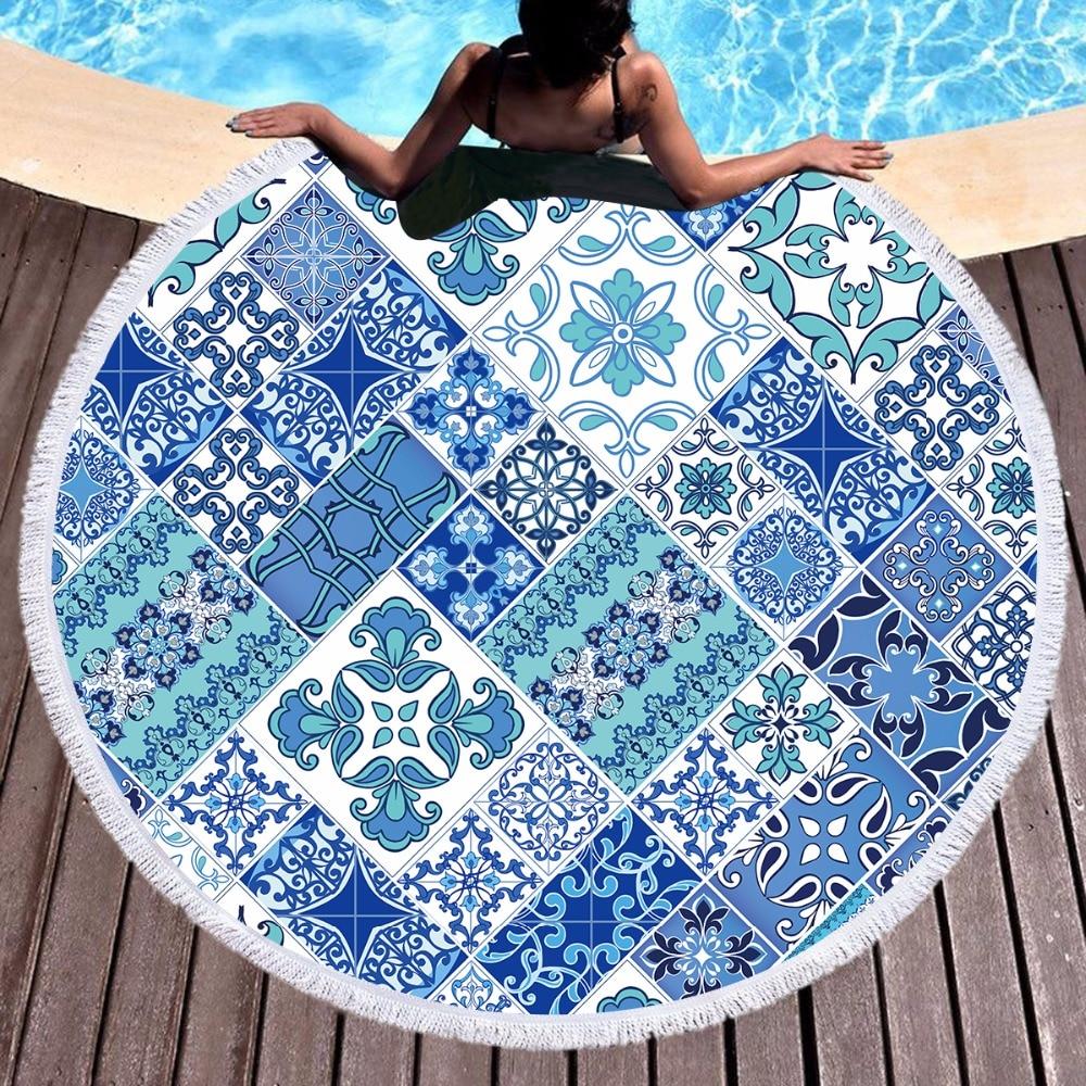 Blue Mosaic Tropical Round Beach Towel For Adults Microfiber Towels Large Microfibre Serviette de plage Tapestry Mat Picnic MatBlue Mosaic Tropical Round Beach Towel For Adults Microfiber Towels Large Microfibre Serviette de plage Tapestry Mat Picnic Mat