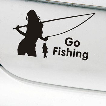1PCS beauty go fishing car stickers outdoor sport car styling car decoration 15cm*9cm image