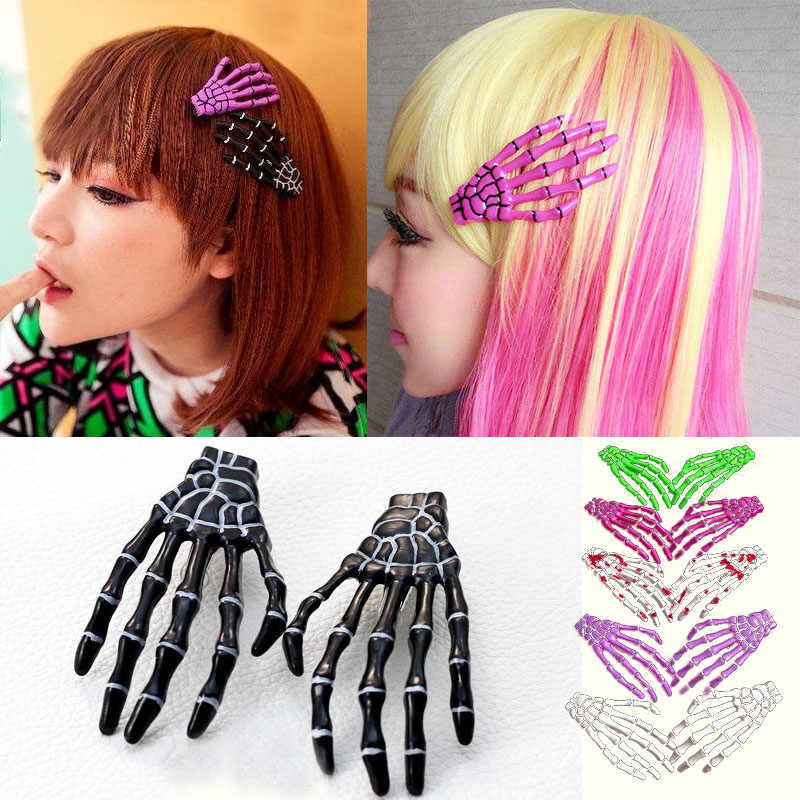 LNRRABC  new jewelry 1 Pc The bones of the hand Hairpin Human Skeleton Fluorescence Novelty Hair Accessories Halloween Gift