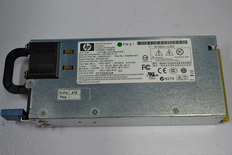 For HP DL180 185 G5 HSTNS PL12 750W Power Supply 449838 001 454353