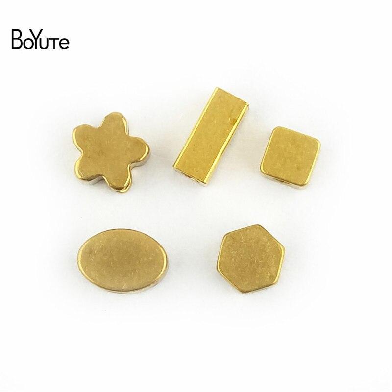 BoYuTe 100Pcs Metal Brass Geometric Squre Oval Star Beads Diy Hand Made Spacer Beads Jewelry Making (5)