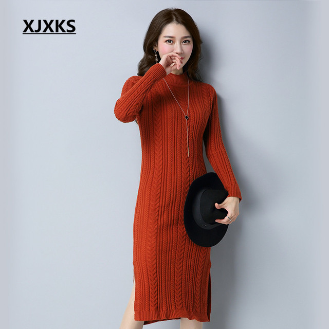 320b243012a8 XJXKS High Quality Fall 2017 Fashion Turtleneck Women Sweaters Dress And  Pullovers 5 Colors Sheath Comfortable