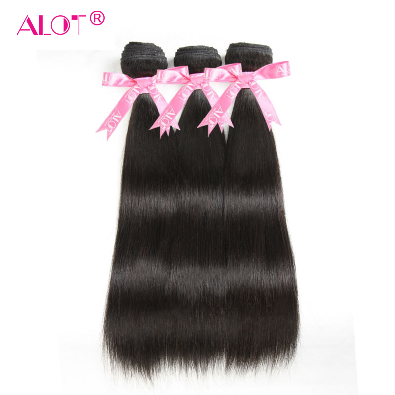 Alot Malaysian Straight Human Hair 3 Bundles Natural Color Hair Weaving 8 To 28 Inch Double
