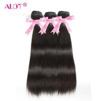 Alot Malaysian Straight Human Hair 3 Bundles Natural Color Hair Weaving 8 To 28 Inch Double