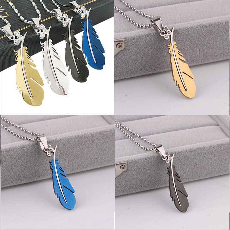 1 pcs Charming Pendant Necklace 4 color Men's Stainless Steel Silver Gold Black Feather Chain for Lovers