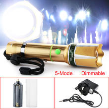 Top Quality LED Flashlight 3000 Lm T6 Led Adjustable Focus flashlight Torch Gold+UK Charger Set(China)