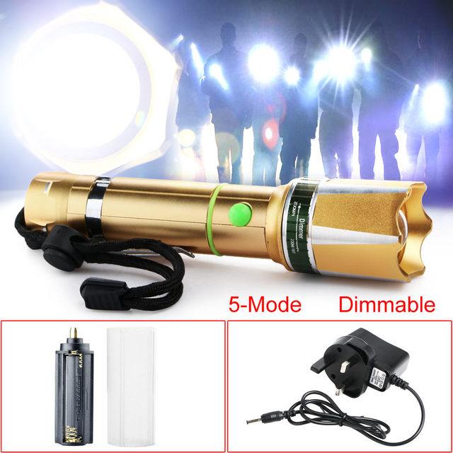 Us 9 62 22 Off Top Quality 3000 Lm T6 Led Adjule Focus Flashlight Torch Gold Uk Charger Set In Flashlights From Lights Lighting On
