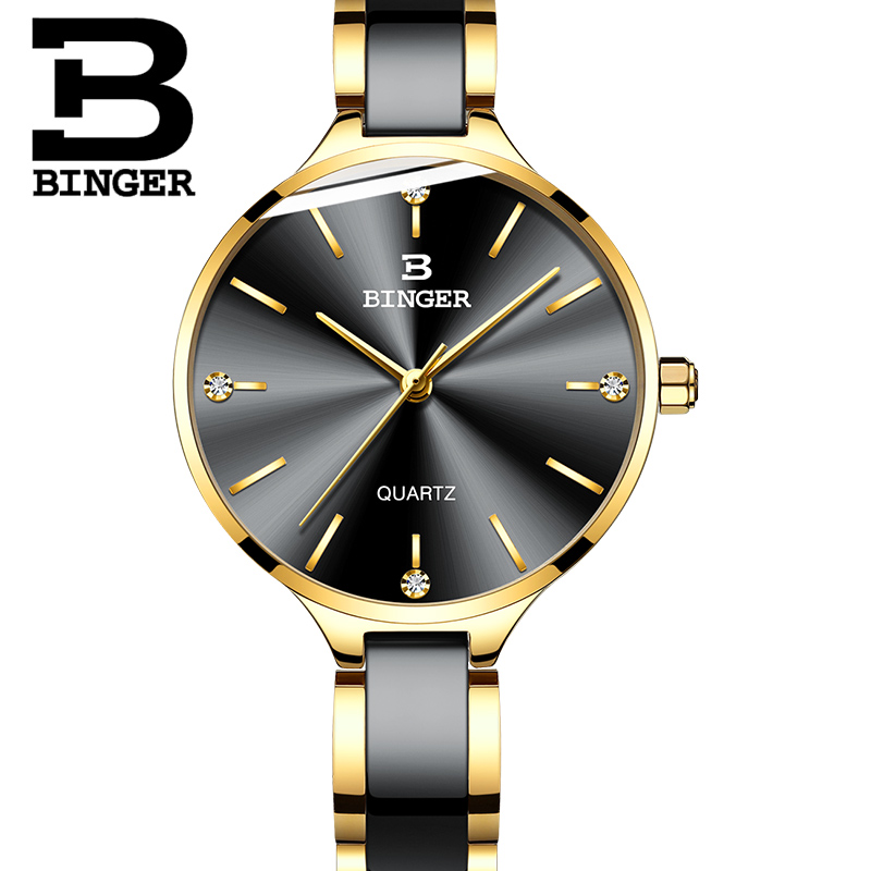 ac6778bd174 Mulheres De Luxo Relógio Marca suíça BINGER Moda Pulseira de Cristal ...